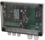 Fault reporting device IT180 with 230V supply in an IP65 housing with 6 digital inputs, 2 analog inputs, 1 temperature input and 1 relais output