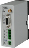 GSM alarm modem for DIN rail mounting with 2 inputs and 1 output