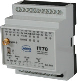 Error reporting device IT70 for DIN rail mounting with 4 digital inputs, 4 analog inputs and 2 relais outputs